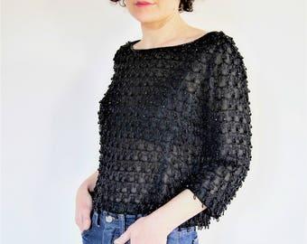 Guy Laroche 60s black Organza Blouse tunic top beads Couture 1960 / / luxury VINTAGE Paris / / mod design