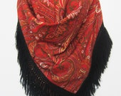 Shawl Provence Valdrôme 100 wool Made in France scarf Red