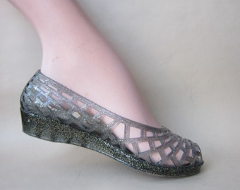 b72f0c2e90e8 Méduses JELLY SHOES Ballerines Open Toe Plastique Silver Argent 1980 1990  Paillettes Vintage 80s 90s 37FR 4UK