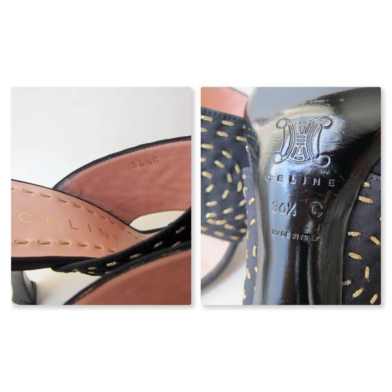 Celine Paris Sandals embroidery spiral gold black Mules 36 barefoot sandals, 5FR