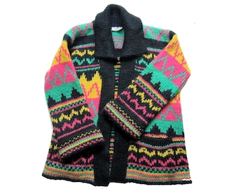 1980 1990 Cardigan vest Boho graphic Mohair wool jacket