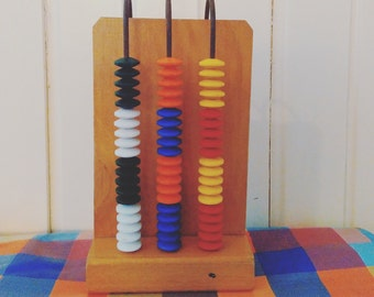 Wooden Abacus - Bakelite beads - Vintage Wood Abacus - Abacus Calculator - Colourful Abacus - Learning Game - Learning Toy - Montessori Toy