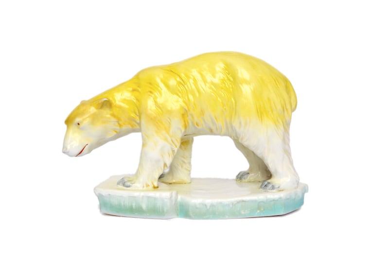 Polar Bear Yellow Turquoise Ceramic Antique Porcelain Ice Floe Bear Vintage Mid Century Collectible Porcelain Ice Bear 1930s Art Deco