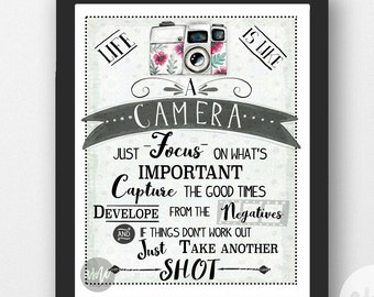 Life Is Like A Camera Quote Typography Illustration 8x10 & 18x24 INSTANT DOWNLOAD Inspirational Printable Art DIY Arrow Watercolor Print