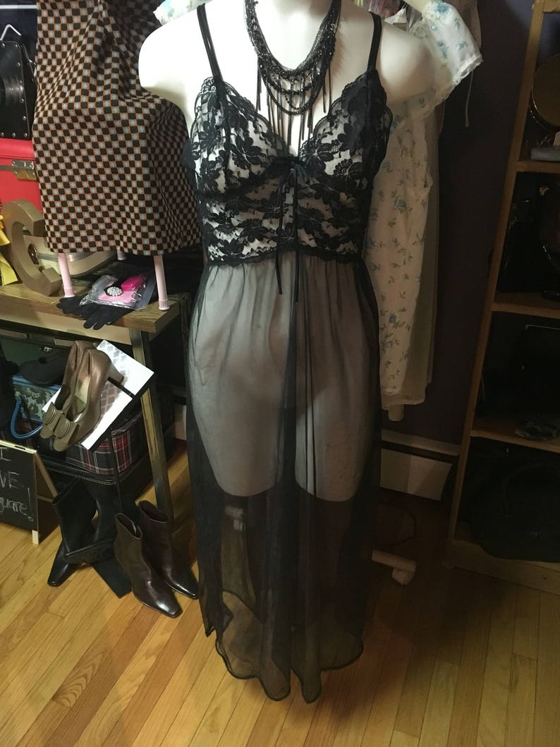 Beautiful lace sheer nighgown slip