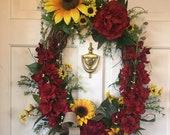 Sunflower Grapevine Wreath-Front Door Wreath-Summer Wreath-Spring Wreath for Front Door-Peony Wreath. Spring Door Decor. Summer Door Wreath
