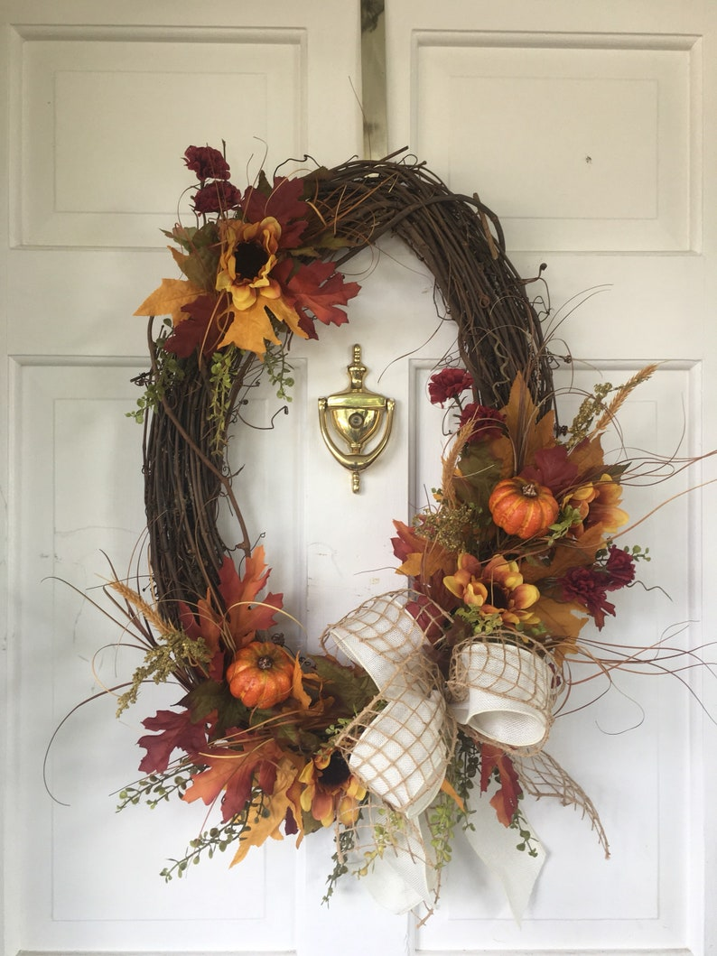 Sunflower Wreath Fall Decor Home Decor Fall Wreath Pumpkin Decor Autumn Grapevine Wreath Door Wreath Sunflower Decor Pumpkin Wreath
