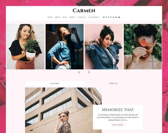 Carmen | Responsive Minimalist Premade Blogger Template with Landing Page !