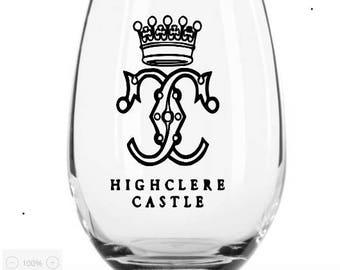 Downton Abbey Wine Glass Highclere Castle Wine glass Downton Abbey Gift