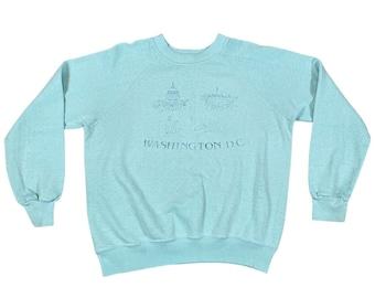1980s Washington DC Monuments Paper Thin Raglan Sweatshirt (L)