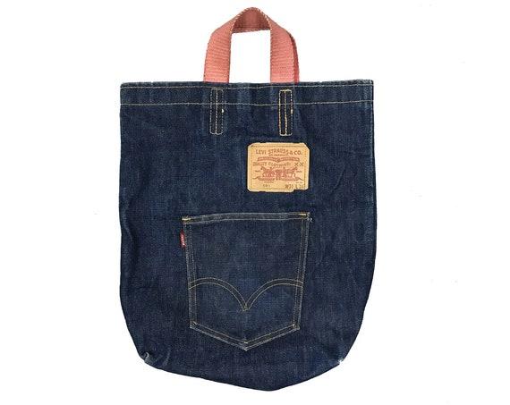 1970s Levi's 501 Big E pocket Dark Blue DenimTote Bag by NOW DESIGN