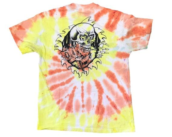 Port City Tattoo Shop Parlor Skull Tie Dye T-shirt (L)