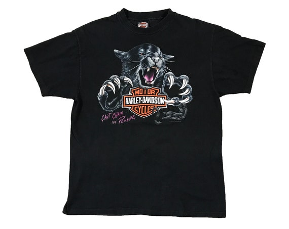 "1992 Harley Davidson Panther ""Can't Chain the Power"" Cleveland Ohio Motorcycle T-Shirt (L)"