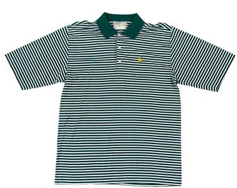 Vintage Masters Logo Augusta National Golf Shop Course Striped Polo Shirt (L)