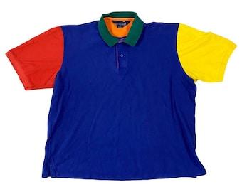 90s Lands End Bright Color Block Polo Shirt (XL)