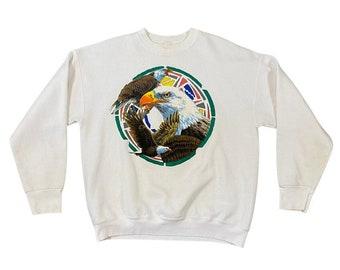 1980s Bald Eagle Indian Native American Sweatshirt (L)