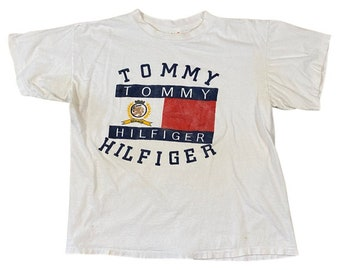 90s Tommy Hilfiger Flag and Crest Bootleg T-Shirt (L)