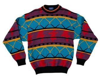 90s Bright Colored Geometric Cambridge Classic Sweater (M)