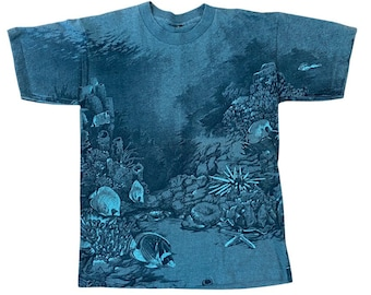 90s Great Barrier Reef Double Sided All Over Print T-Shirt (M)