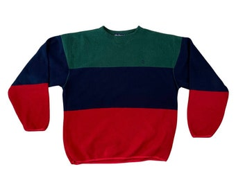 Vintage 90s Nautica Pullover Colorblock Fleece Sweatshirt (L)