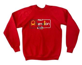 1980s United Colors of Benetton Crossed Flags Logo Bootleg Sweatshirt (XL)