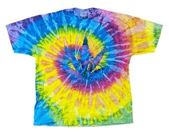 90s Pot Marijuana Leaf Tie Dye T-shirt (XL)