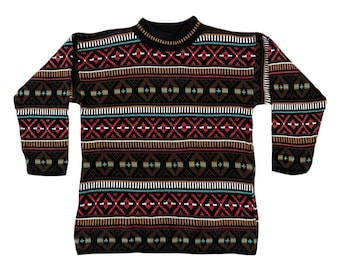 90s Muted Colored Geometric Croquet Club Sweater (M)