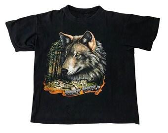 90s Grey Wolf Rendering Black Single Stitch T-shirt (L)