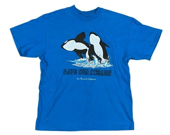 90s Save Our Oceans Killer Whales Orcas San Clemente California Novelty T-Shirt (L)