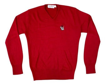 70s University of Georgia Bulldogs UGA Bulldog V-Neck Sweater (M)