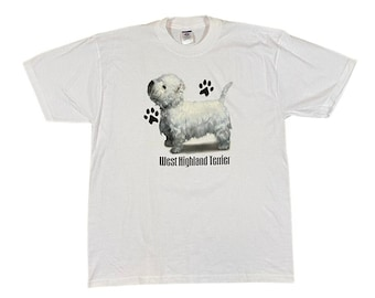 90s West Highland Terrier Dog Breed T-Shirt (L)