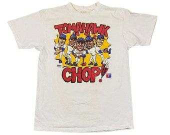 1991 Atlanta Braves Tomahawk Chop Caricature T-Shirt (M)
