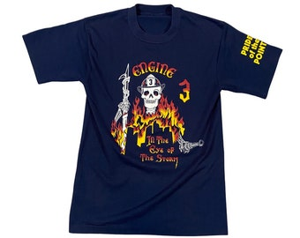 """90s Denver Fire Department Engine #3 Tattoo Design """"The Eye of the Storm"""" T-Shirt (S)"""