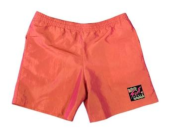90s Surf Style Orange Iridescent Trunks Swimsuit (L)