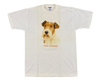 90s Fox Terrier Dog Breed T-Shirt (L)