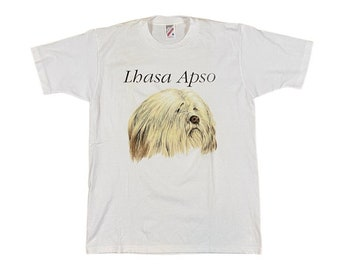 90s Lhasa Apso Dog Breed T-Shirt (M)