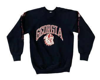 1980s Georgia Bulldogs Logo Black Raglan Sweatshirt with Sleeve Graphics (S)