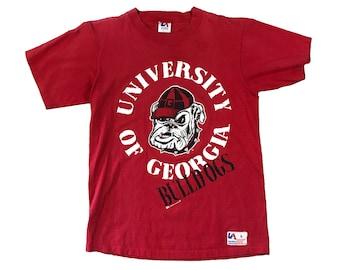 1990s UGA Georgia Bulldogs Stamp Single Stitch T-shirt (L)