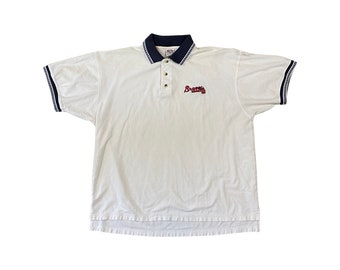 90s Atlanta Braves Logo Knit Polo Shirt (XL)