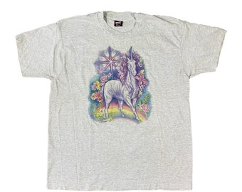 90s Unicorn Fantasy Rainbow Flowers T-Shirt (XL)