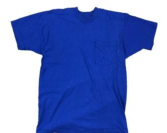 1990s Royal Blue Selvedge Pocket T Blank Single Stitch T-Shirt (M)