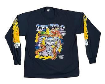1990 J.D. Crowe Official Tattoo Brand  Skulls Flames Long Sleeve Shirt (L)