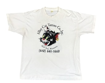 1994 Alley Cat Tattoo Co. Shop Minnesota 2 Sided Single Stitch T-shirt (L)