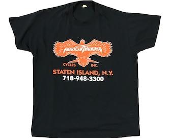 1990s American Thunder Cycles Inc. Staten Island NYC Motorcycle Shop Shirt (L)