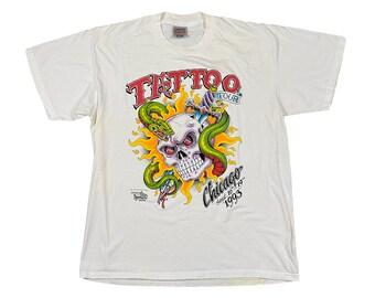 1993 Tattoo Tour Chicago J.D. Crowe Official Tattoo Brand Skull T-Shirt (XL)