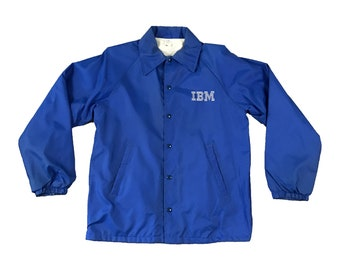 80's IBM Logo Snap Button Windbreaker Coat Jacket (XL)