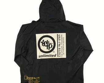 RARE Vtg 90's Echo Unltd (Unlimited) NYC Graffiti Black Hooded Parka Jacket - XL Hip Hop