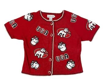 UGA Georgia Bulldogs Patches Knit Short Sleeve Sweater (L)