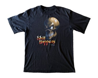 "1988 Paper Thin ""Shit Happens"" Smirking Skull T-Shirt (M)"