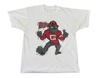 1987 UGA Georgia Bulldogs Pennant Caricature Single Stitch T-shirt (L)